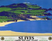 St Ives Carbis Bay & Lelant, Cornwall. Vintage GWR Travel poster by Borlase Smart. 1935
